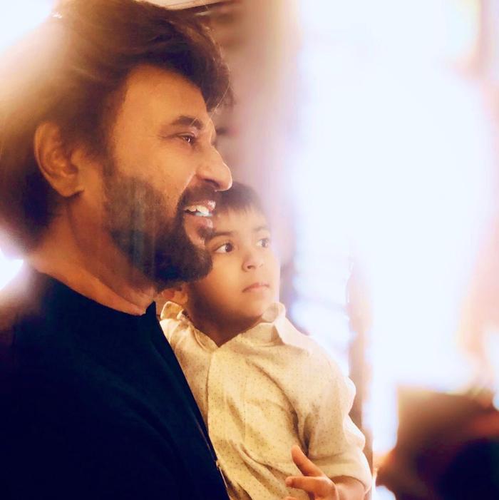 Photo: Rajinikanth With His Grandson At Darbar Sets | Latest Andhra