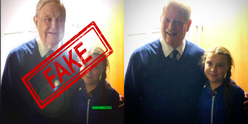 Greta Thunberg is actually standing with Al Gore, the former vice president of the United States and not with George Soros.