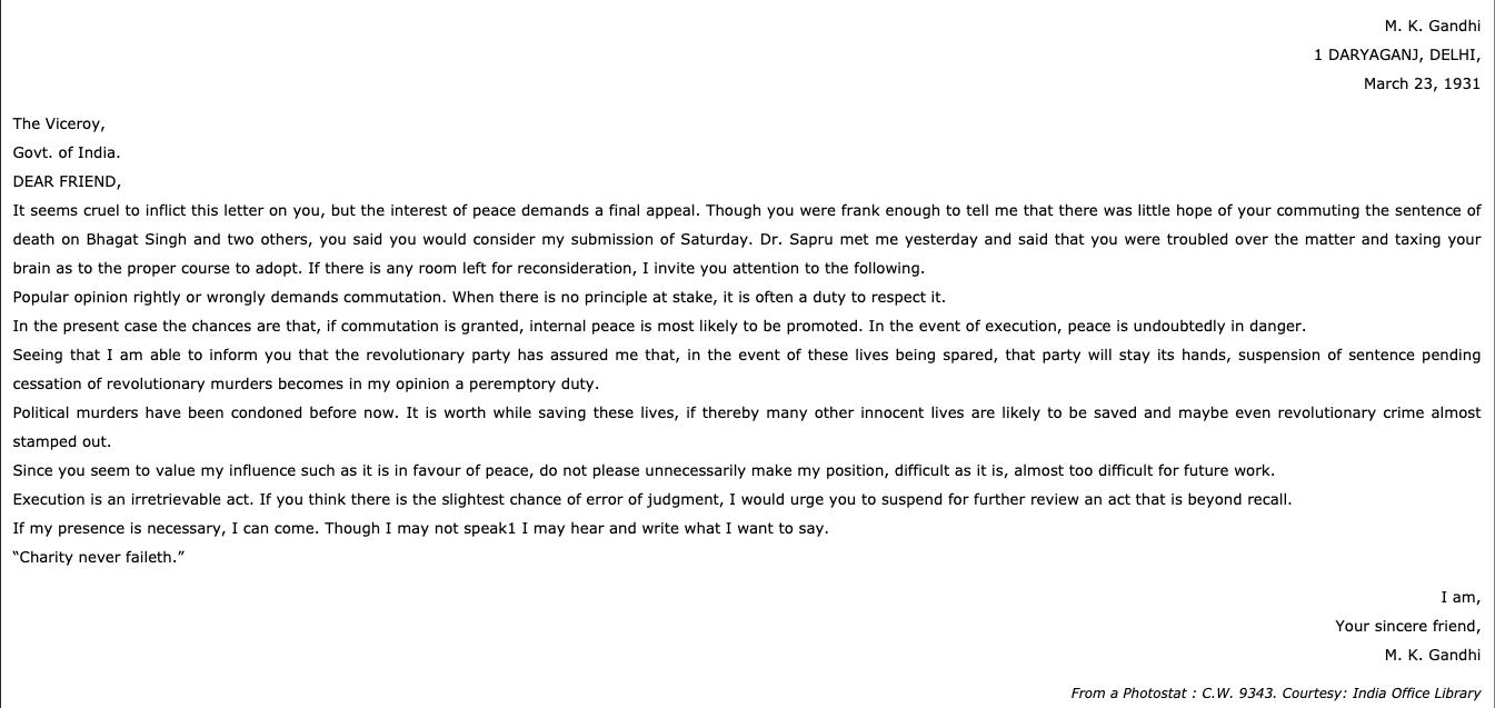 Mahatma Gandhi's letter to viceroy