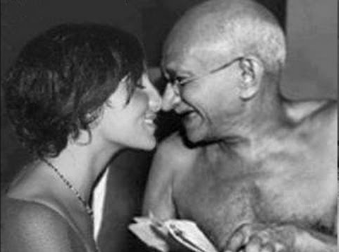 Mahatma Gandhi getting intimated with a woman