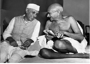Mahatma Gandhi with Jawaharlal Nehru
