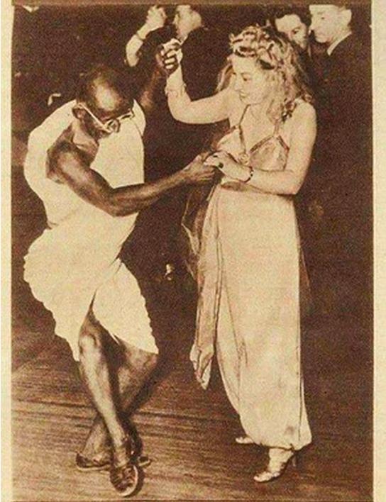 Mahatma Gandhi Dancing with a lady